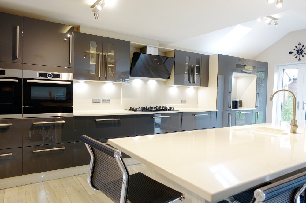 Contemporary Gloss Grey Kitchen Design From Premier