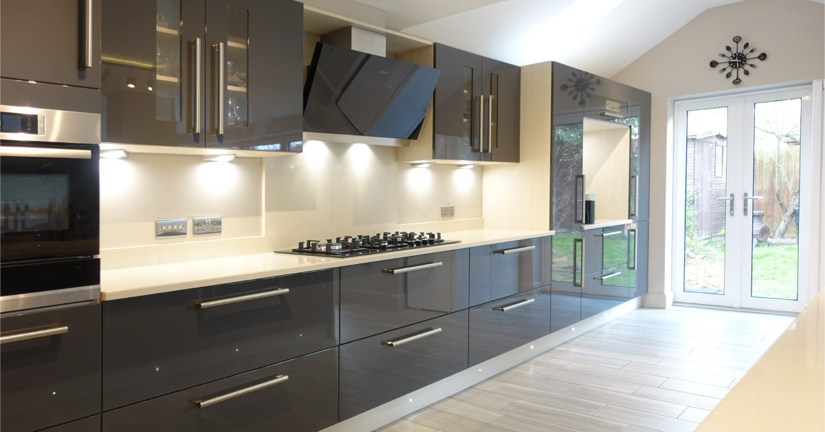Contemporary gloss grey kitchen design from premier for Coloured kitchen units uk